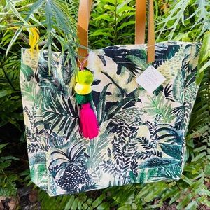 Botanical Pom Pom Tote With Inside Pocket Gift